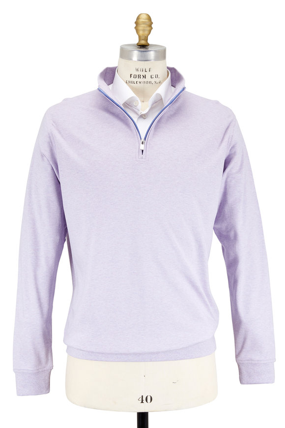 Peter Millar Lilac Cotton Interlock Quarter-Zip Pullover