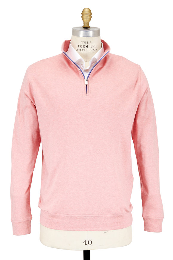Peter Millar Vintage Pink Cotton Interlock Quarter-Zip Pullover