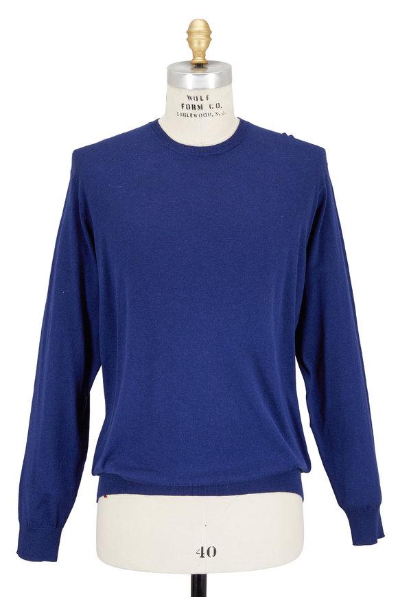 Peter Millar Patriot Blue Cotton & Silk Crewneck Sweater