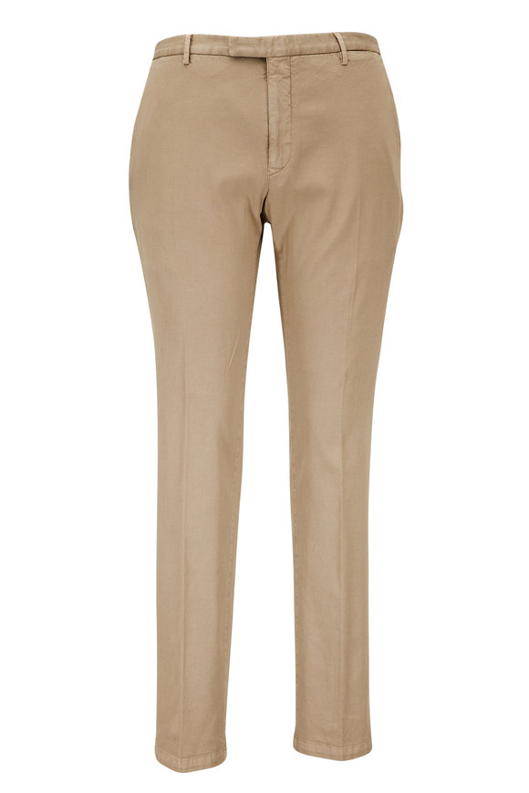 Boglioli Tan Stretch Cotton Piqué Trouser