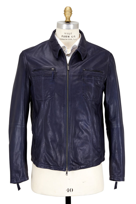Gimos Navy Blue Leather Zip-Front Jacket