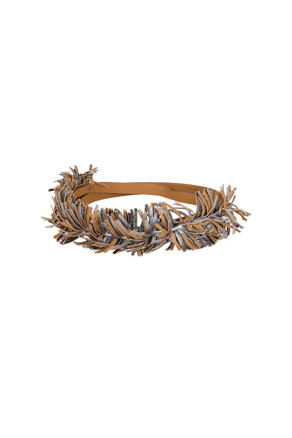 Brunello Cucinelli Silver Leather Fringed Self-Tie Belt