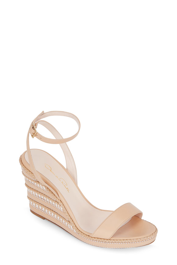 Oscar de la Renta Mitzi Beige Leather Woven Heel Wedge, 85mm