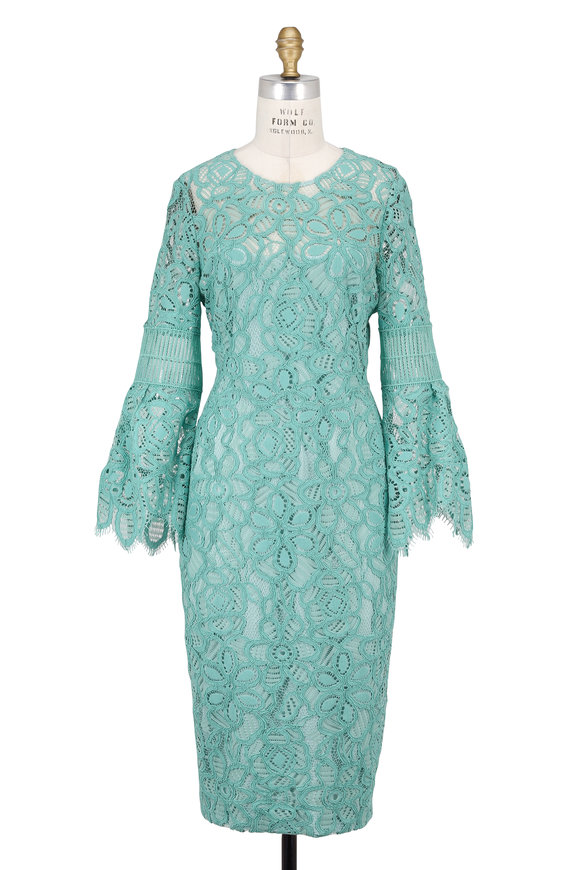 Lela Rose Mint Corded Lace Bell Sleeve Dress