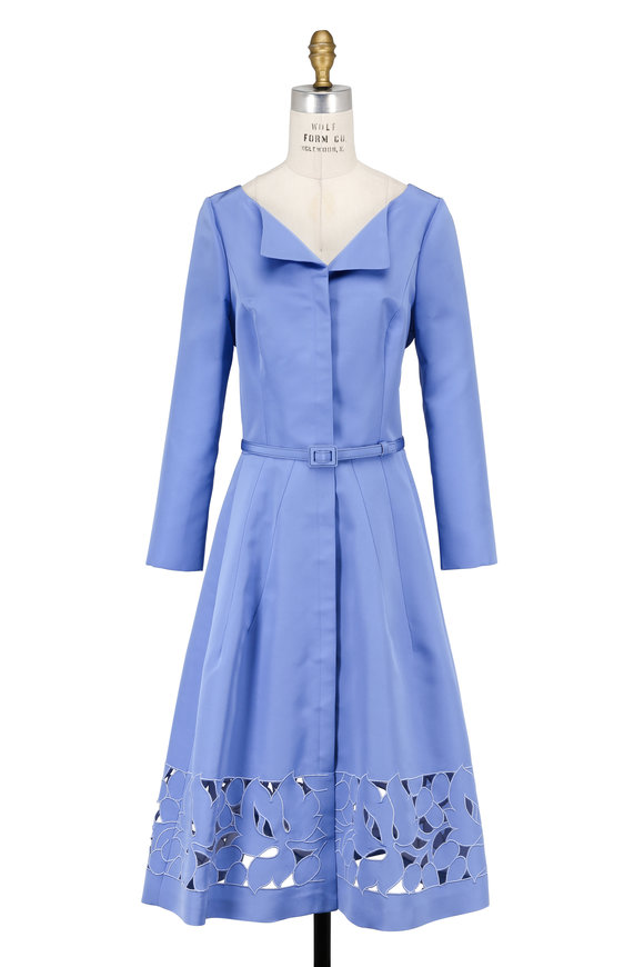 Carolina Herrera Cornflower Silk Faille Laser Cut Hem Dress