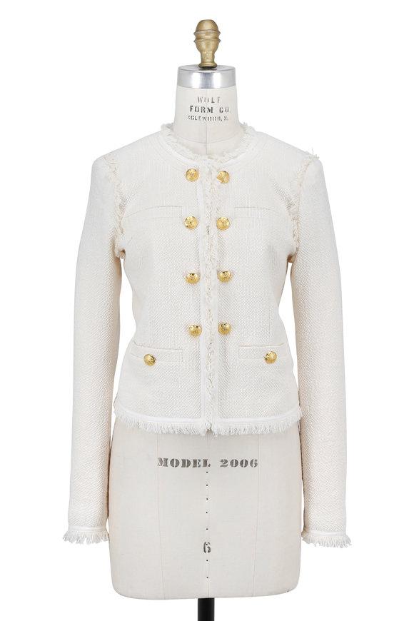 Veronica Beard Betsy White Tweed Lace Back Jacket