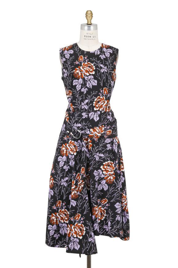 Victoria Beckham Pink Multicolor Cotton Rose Print Sleeveless Dress