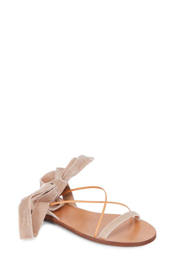 Valentino Natural Velvet Ankle Wrap Flat Sandal