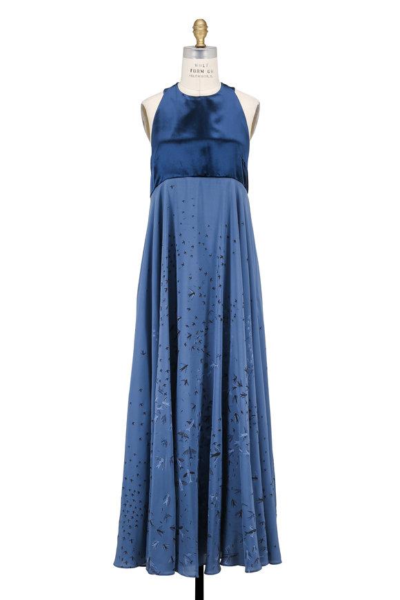 Valentino Blue & Black Swallow Crêpe De Chine Halter Dress