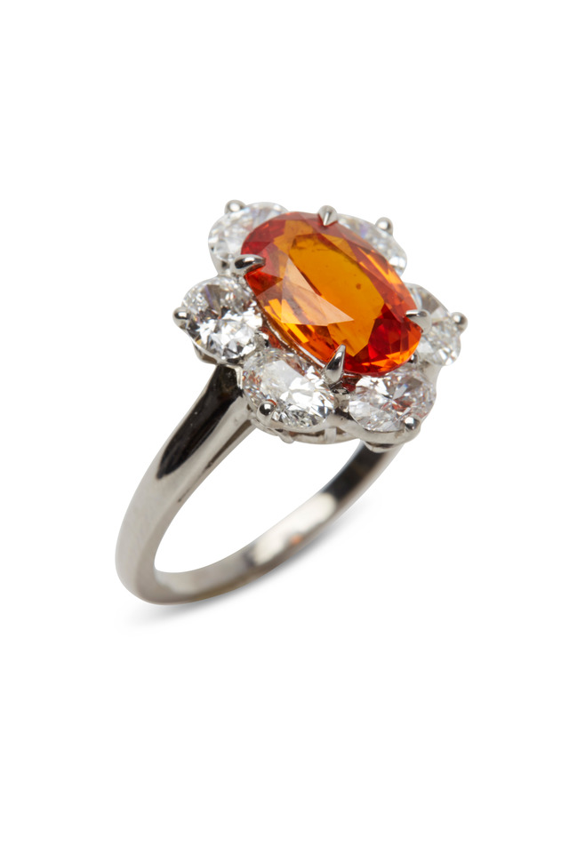 Platinum Orange Sapphire White Diamond Ring