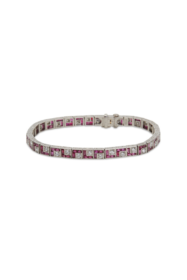 Platinum Ruby White Diamond Bracelet