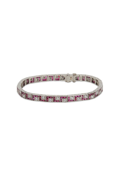 Oscar Heyman - Platinum Ruby White Diamond Bracelet