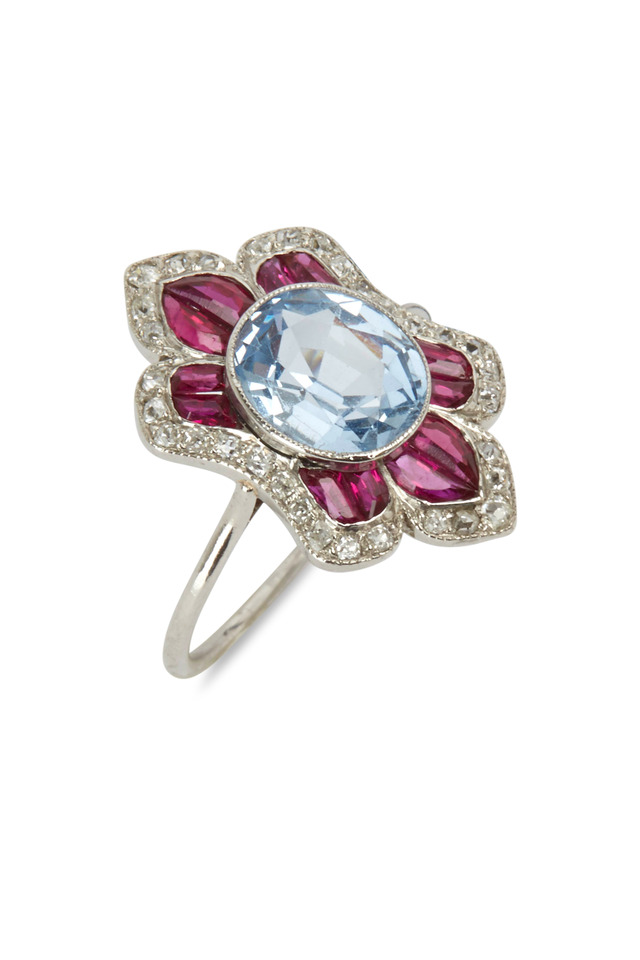 Art Deco Aqua Ruby & Diamond Ring
