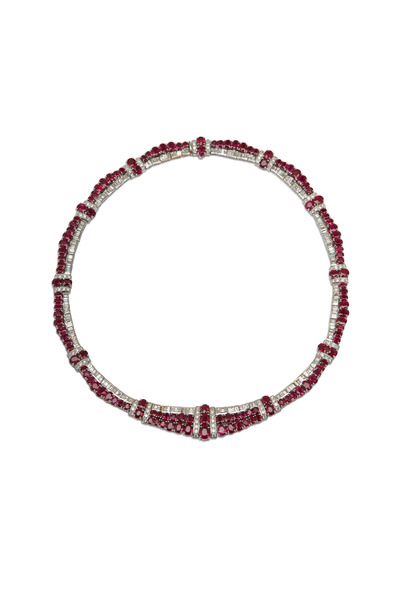 Fred Leighton - White Gold Ruby Diamond Necklace