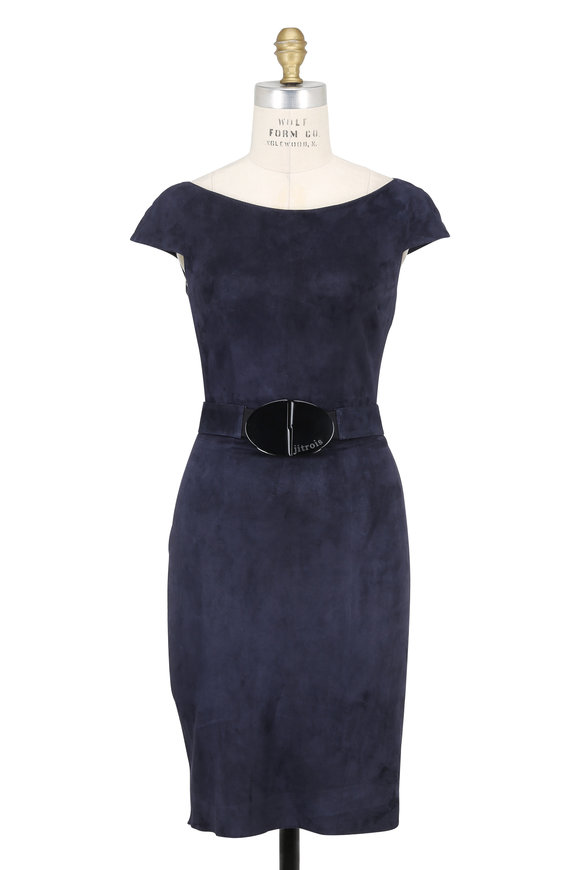 Jitrois Atlantic Navy Stretch Suede Belted Dress