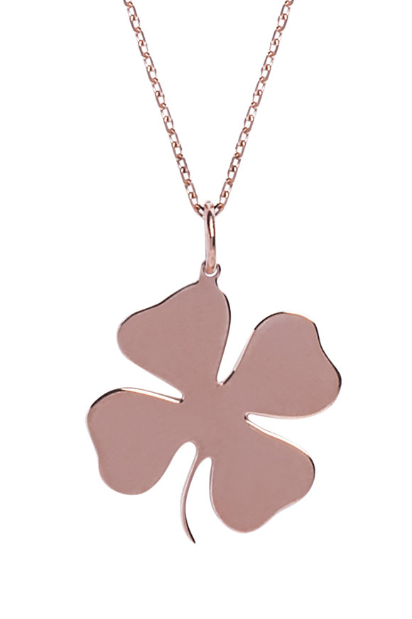 Genevieve Lau 14K Rose Gold Lucky Clover Necklace