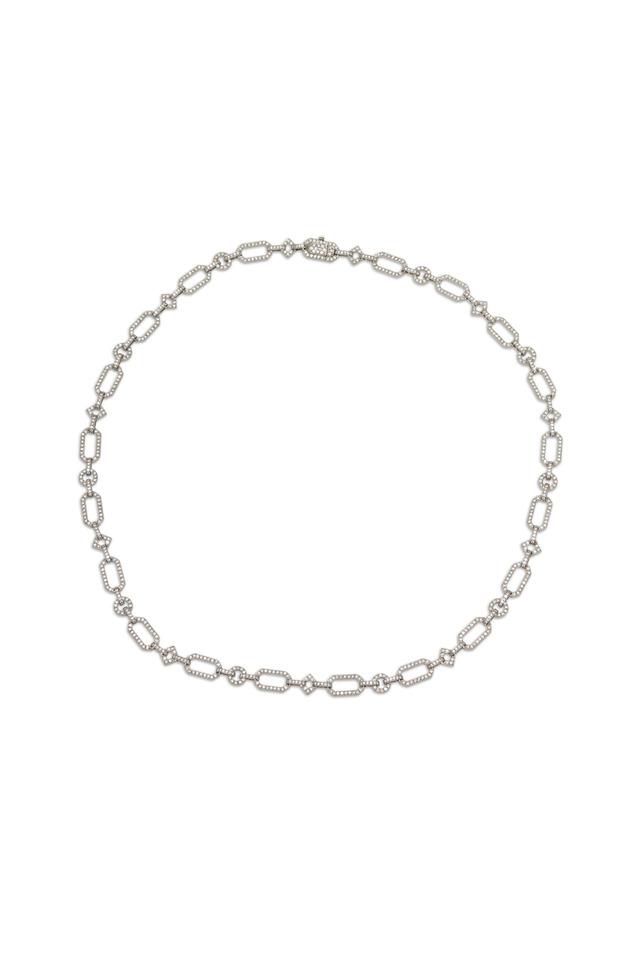 Platinum Diamond Geometric Link Necklace