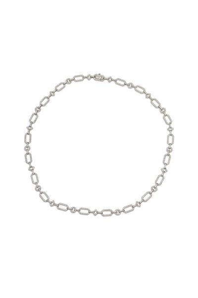 Fred Leighton - Platinum Diamond Geometric Link Necklace