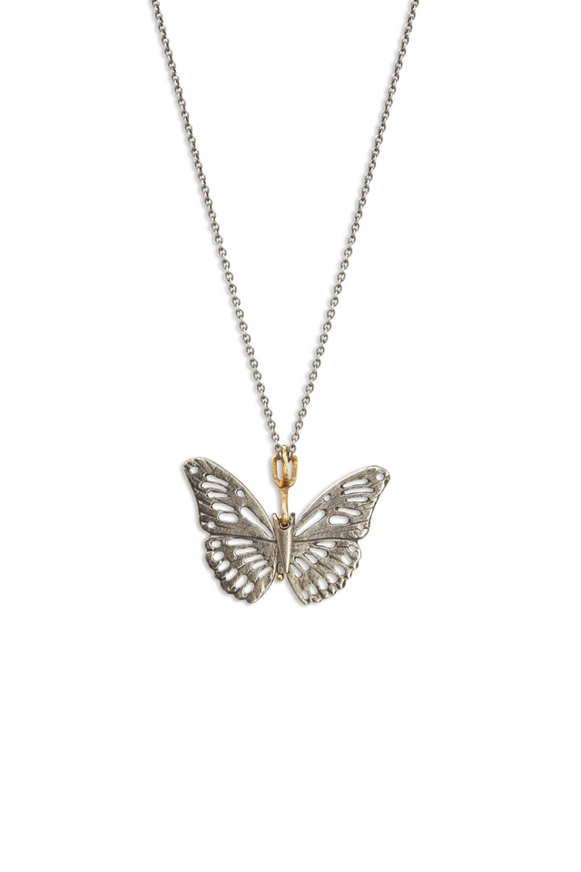 Butterfly Yellow Gold & Sapphire Necklace