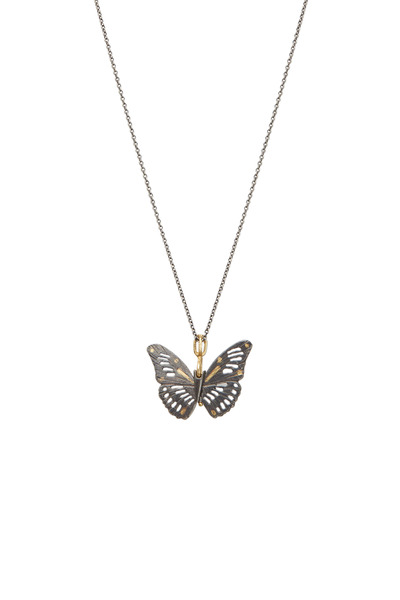 James Banks - Butterfly Yellow Gold & Ruby Necklace