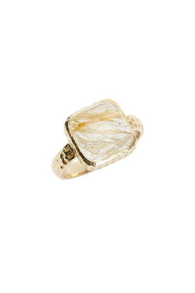 Ashley Morgan - 18K Yellow Gold Rutilated Quartz Ring