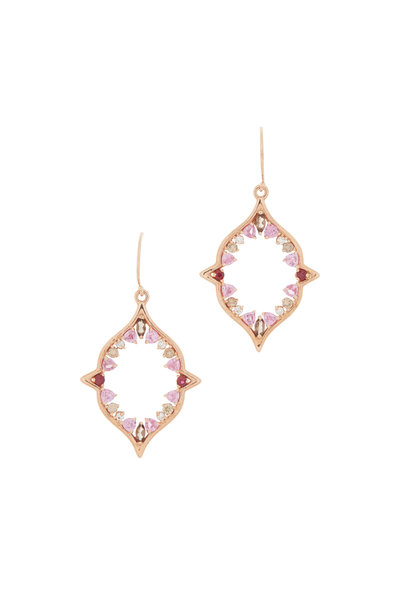 Genevieve Lau - 14K Rose Gold Diamond & Sapphire Cart Earrings