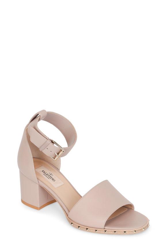 Valentino Soul Rockstud Nude Ankle Strap Sandal, 60mm