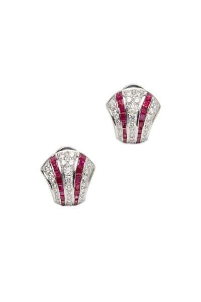 Oscar Heyman - Platinum Ruby Diamond Earrings