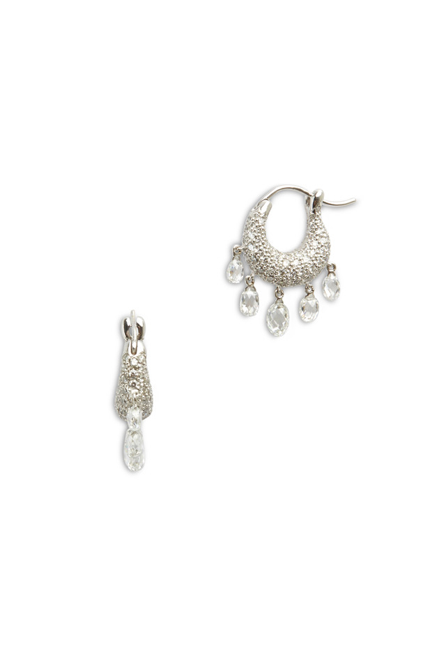 Platinum Round & Briolette Diamond Hoop Earrings