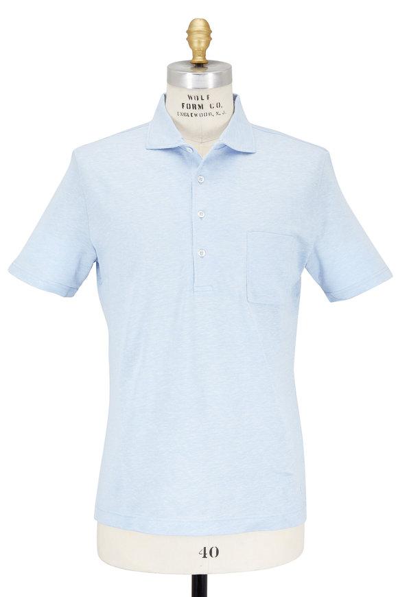 Luciano Barbera Light Blue Cotton & Linen Piqué Pocket Polo