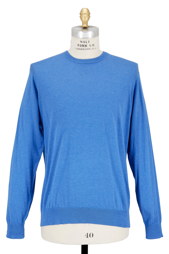 Peter Millar Dock Blue Cotton & Silk Crewneck Sweater