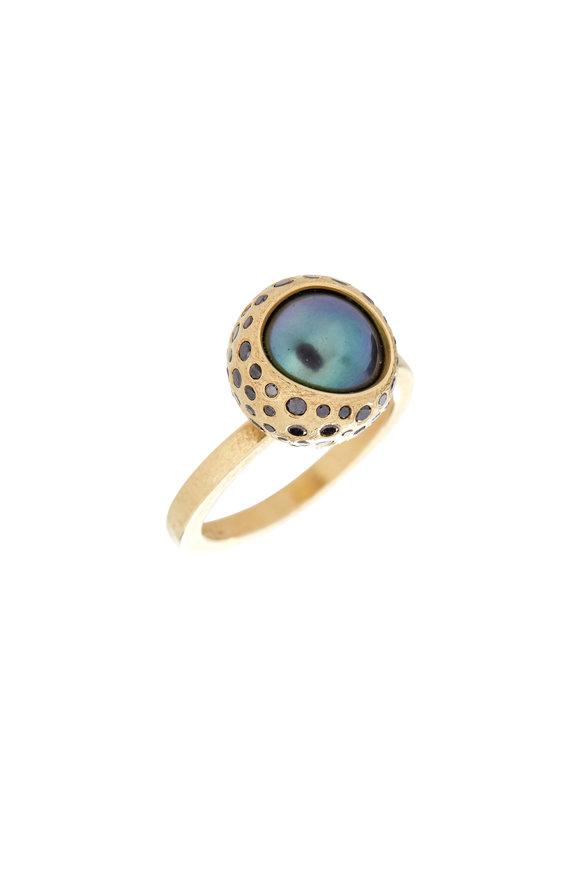 Todd Reed 18K Gold Tahitian Pearl & Black Diamond Ring