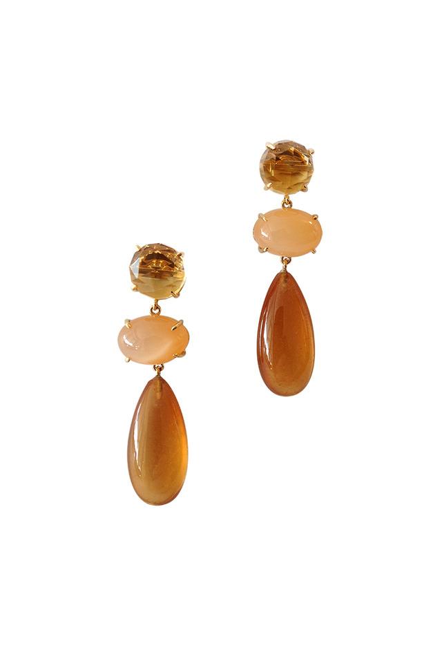 Yellow Gold Citrine & Peach Moonstone Earrings