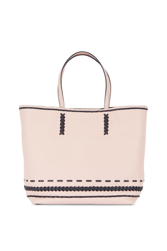 Tod's Gypsy Nude Leather Contrast Stitch Tote