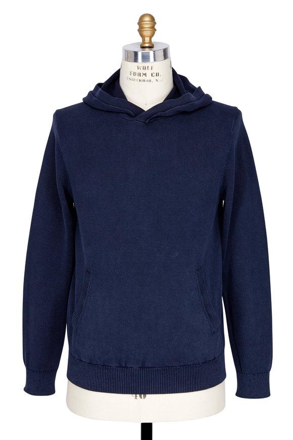 Vince Coastal Blue Cotton Garment Dyed Hoodie
