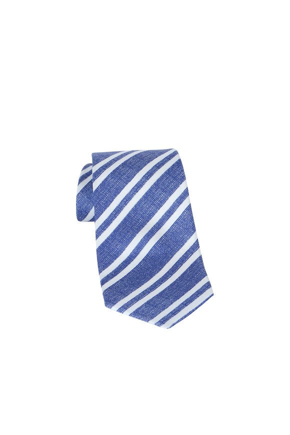 Kiton Blue & White Striped Silk Necktie