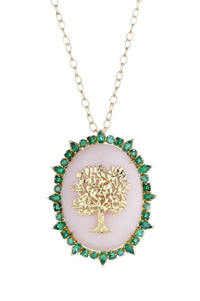 Emily & Ashley - Gold Large Moonstone Ruffle Tree Of Life Pendant