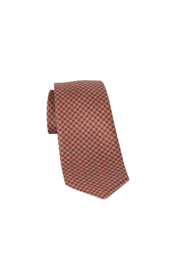 Kiton Brown Geometric Print Silk Necktie