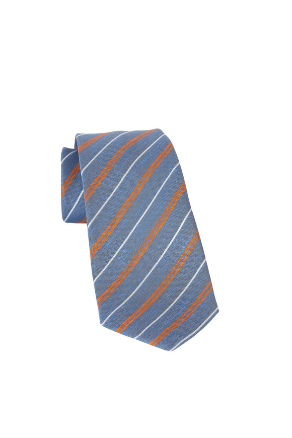 Kiton Slate Blue & Orange Striped Linen & Silk necktie
