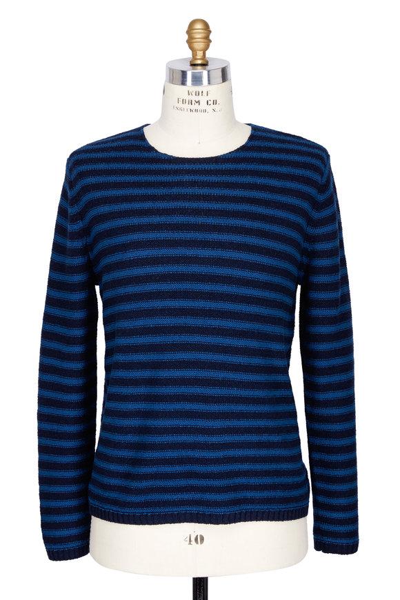 Vince Blue Coastal Cotton Reverse Stripe Sweater