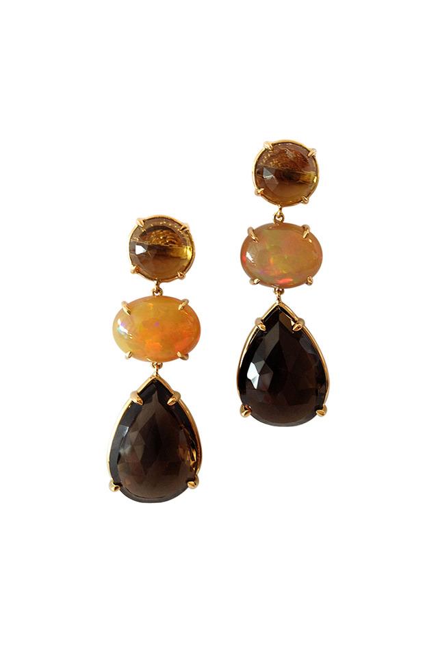 Yellow Gold Topaz Smoky Opal Earrings