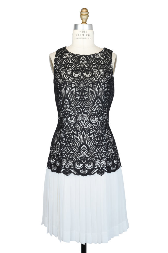 Oscar de la Renta Black Lace & White Silk Pleated Skirt Dress