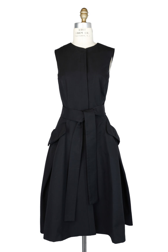 Carolina Herrera Black Self-Tie Sleeveless Dress