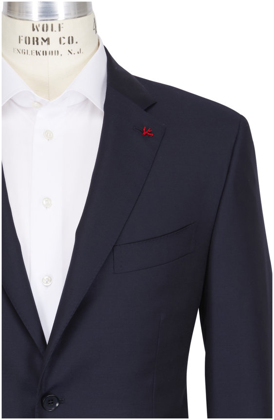 Isaia Aquaspider Navy Wool Basic Suit