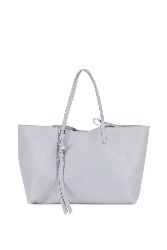 Alexander McQueen Skull Light Gray Leather Large Open Tote