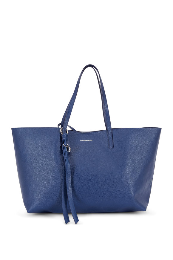 Alexander McQueen Skull Navy Blue Leather Large Open Tote