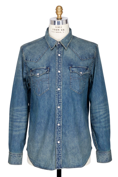 RRL - Buffalo Dark Wash Denim Western Shirt