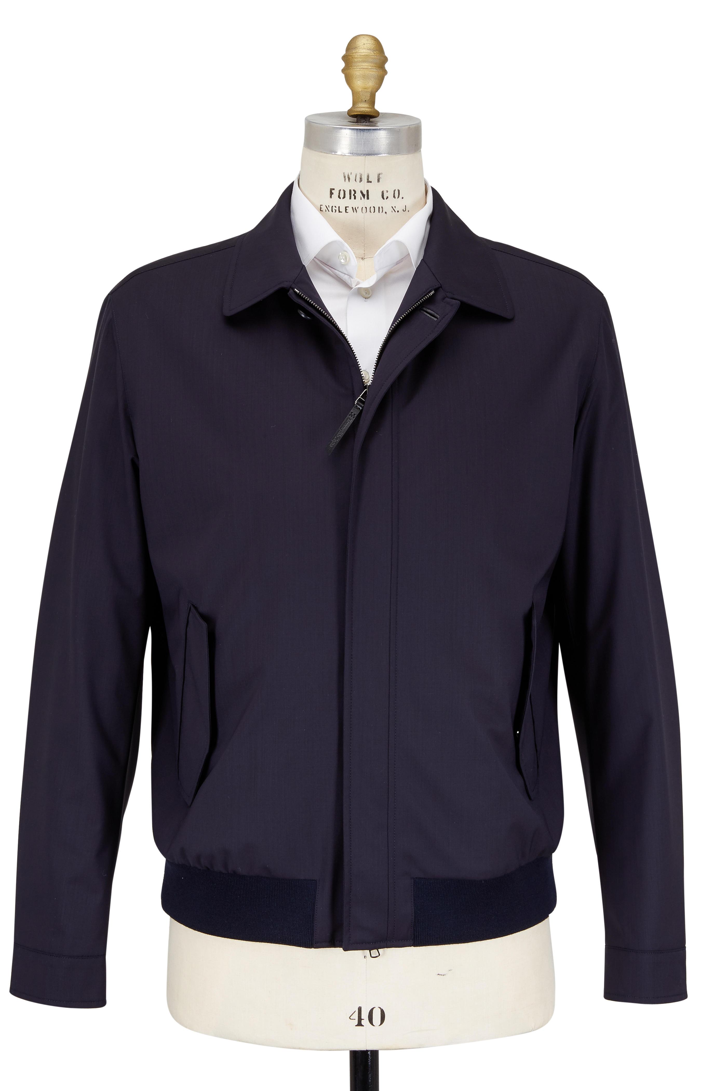 98267498e Ermenegildo Zegna - Midnight Blue Trofeo Wool Elements Bomber Jacket ...