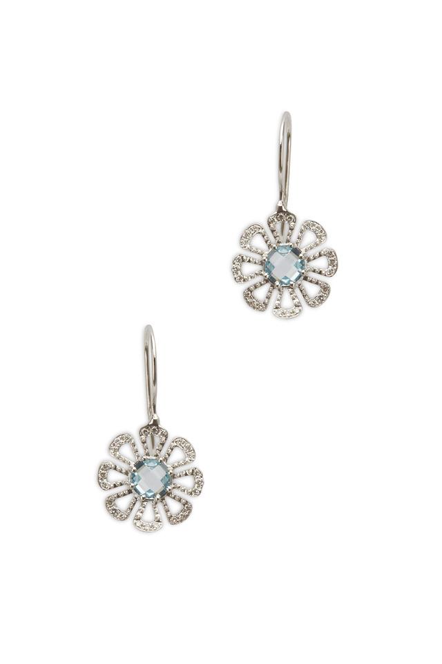 White Gold Aqua Diamond Flower Dangle Earrings