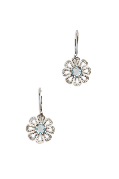 Paul Morelli - White Gold Aqua Diamond Flower Dangle Earrings